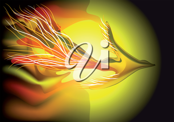 flying fiery bird. abstract background. 10 EPS
