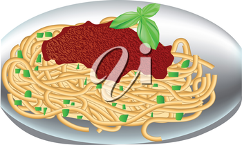 plate of spaghetti with tomato sauce and basil