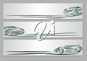 Royalty Free Clipart Image of Car Banners