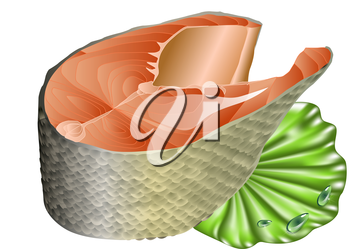 Royalty Free Clipart Image of Salmon on a Lettuce Leaf