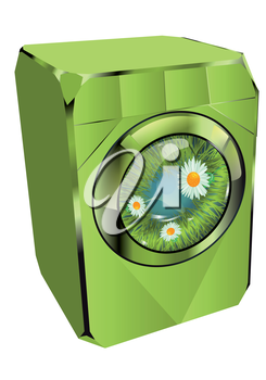 washing machine. abstract eco machine with grass and flowers