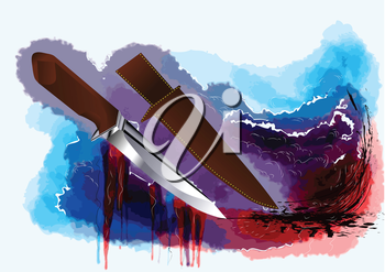 hunting knife on abstract multicolor grunge background