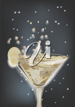 abstract cocktail with splash and lime and night sky