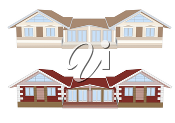facades of houses isolated on a white background