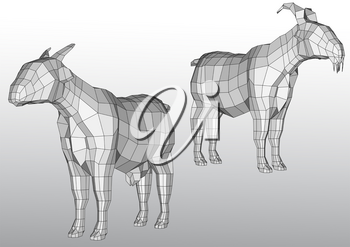 polygonal goats vector illustration on gray background