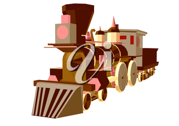 steam train low poly style isolated on white