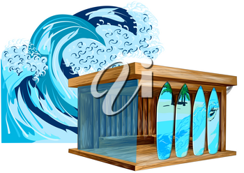 surf shop and wave. surf board and sea waves