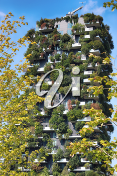 Bosco Verticale. September 25, 2019, Milan, Italy. Vertical Fores and the new park Designed by Stefano Boeri, sustainable architecture in Porta Nuova district