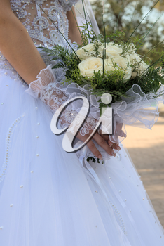 Beauty bouquet in a hands of the bride