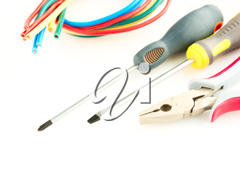 electric tools on a white background .