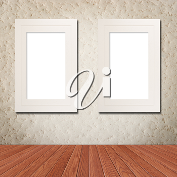 White photo frame on grunge wall with clipping path