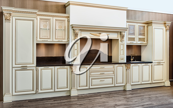 white modern kitchen room in classical style