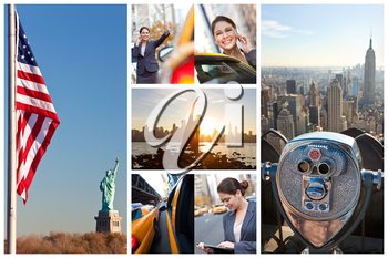 A montage of images showing lifefstyle of young woman or businesswoman in New York City, hailing a yellow Taxi cab, talking on cell phone, exercising and using tablet computer
