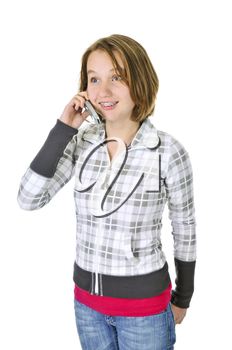 Teenage girl talking on a cell phone isolated on white background