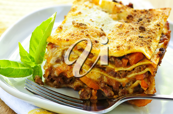 Serving of fresh baked lasagna on a plate