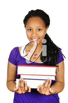 Isolated portrait of black teenage girl holding text books