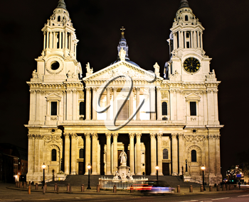 St. Paul's Cathedral Great West Door in London at night