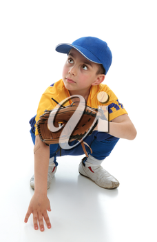 A little boy baseball player crouching down with a mitt.  Space for copy.
