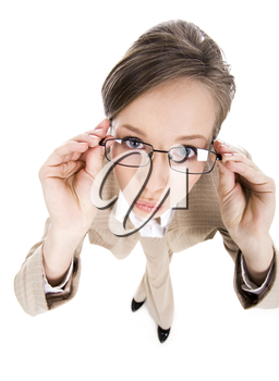 Wide angle of businesswoman wearing eyeglasses and keeping her lips in kiss