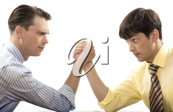 Profiles of two businessmen looking at each other during arm wrestling