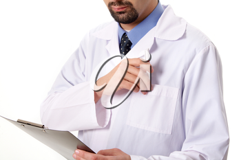 Close-up of physician taking pen from pocket