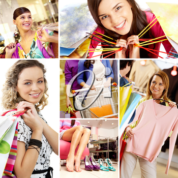 Collage of images with young female shoppers