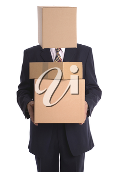 Businessman with a box on his head making a delivery.