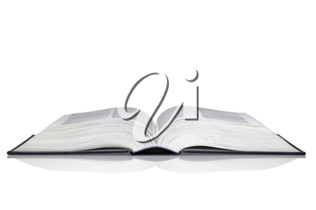 An open hardback book with reflection isolated on a white background.