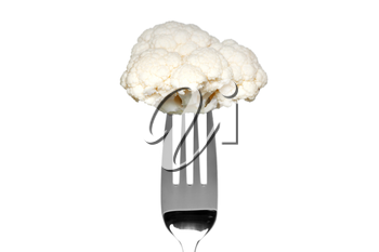 Photo of a cauliflower on a fork isolated on a white background, part of a series.