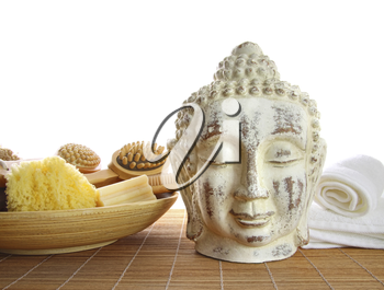 Royalty Free Clipart Image of Bath Accessories With a Buddha Statue