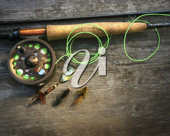 Royalty Free Photo of a Fly Fishing Rod
