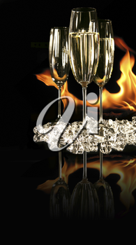 Royalty Free Photo of Champagne and a Fire
