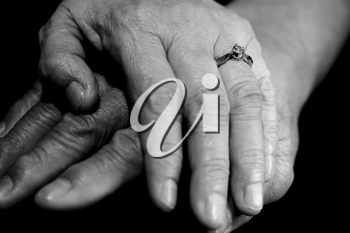 A black and white shot of a senior couple holding hands