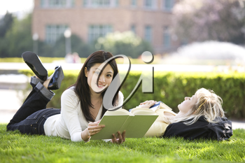 A shot of two college students studying on campus