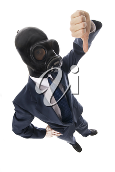 man in blue suit with black rubber mask