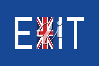 Brexit concept. Flag of United Kingdom with word Exit.