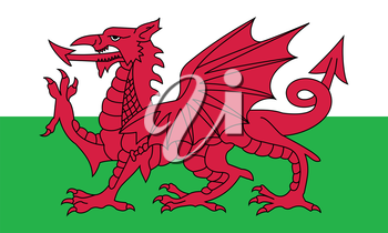Flag of Wales in correct size, proportion, colors. Accurate official standard dimensions. Welsh national flag. United Kingdom patriotic symbol. UK banner. British background design. Red dragon. Vector