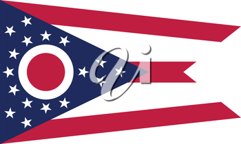Ohioan official flag, symbol. American patriotic element. USA banner. United States of America background. Flag of the US state of Ohio in correct size, colors on white background, vector illustration