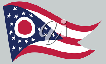 Ohioan official flag, symbol. American patriotic element. USA banner. United States of America background. Flag of the US state of Ohio waving on gray background, vector