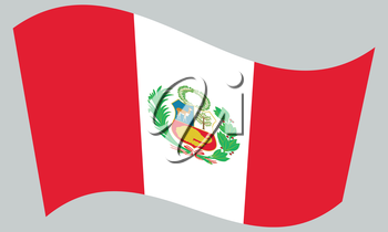 Peruvian national official flag. Patriotic symbol, banner, element, background. Correct colors. Flag of Peru waving on gray background, vector