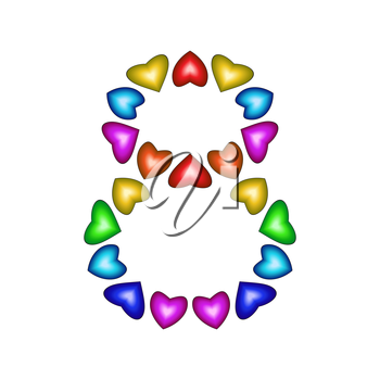 Number 8 of colorful hearts on white. Symbol for happy birthday, event, invitation, greeting card, award, ceremony. Holiday anniversary sign. Multicolored icon. Eight in rainbow colors.