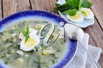 Green borsch with nettles, sorrel and boiled eggs