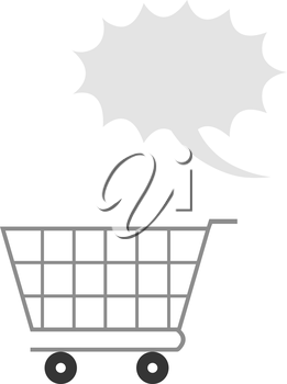 Vector grey shopping cart with grey exclamation bubble.