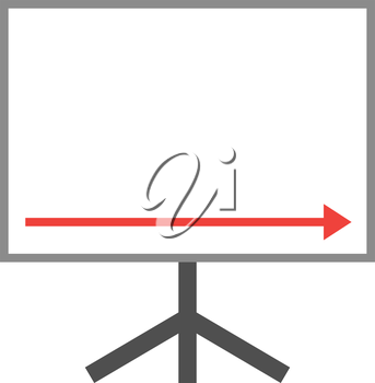 Vector white board with red arrow pointing right down.