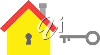 Vector yellow house icon with grey key.