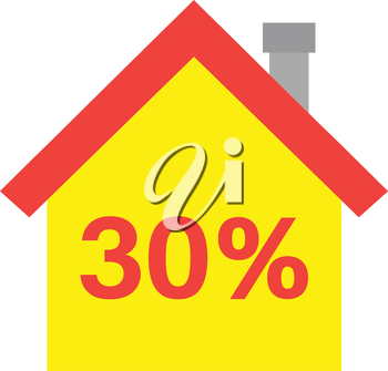Vector red roofed yellow house icon with red 30 percent.