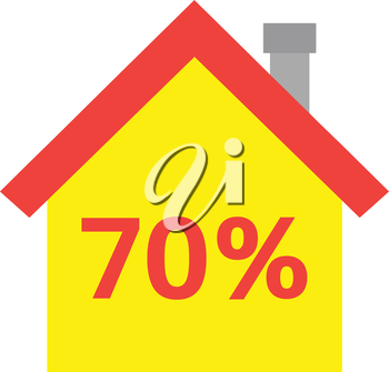 Vector red roofed yellow house icon with red 70 percent.
