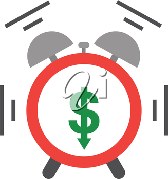 Vector of an alarm clock shaking and ringing include green dollar with arrow moving down.