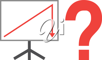 Vector white board with red arrow pointing up then down with red question mark.