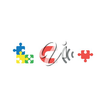 Flat design style vector illustration concept of blue, yellow, green puzzle pieces connected and grey and red magnet attracting missing red puzzle piece symbol icon on white background.